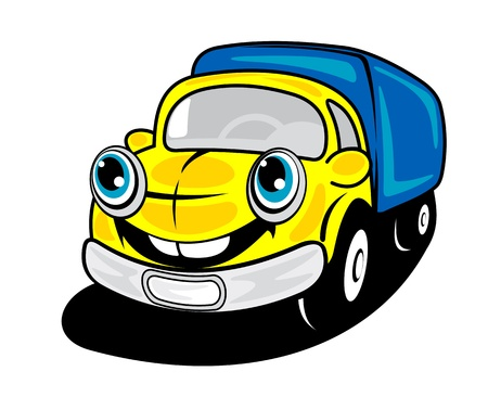 Smiling truck in cartoon style for delivery transportation design Vector