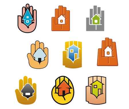 hand logo: Little house in hands for real estate business design