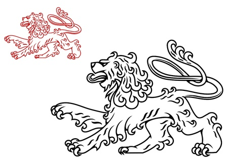 Vintage medieval lion silhouette for heraldry design Vector
