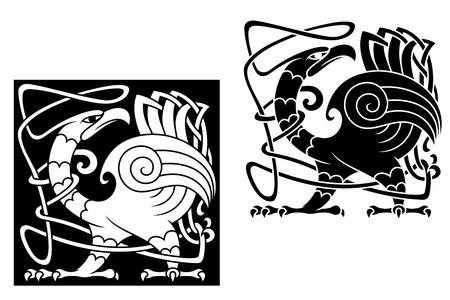 celtico: Angry Bird in stile celtico con motivi ornamentali e tracery Vettoriali
