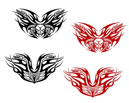 Bikers tattoos with flames isolated on white background Vector