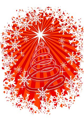 x mas background: Christmas background with snowflakes and new year tree Illustration