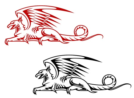 gryphon: Medieval griffin monster for heraldry design isolated on white background Illustration