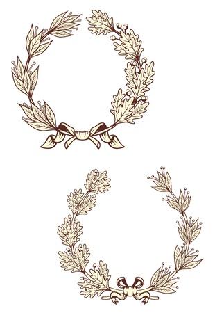 laurel leaf: Vintage coronas de laurel con elementos retro aislados sobre fondo blanco