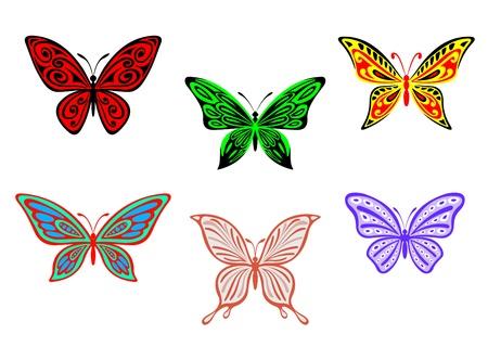 tattoo butterfly: Set di farfalle colorate isolato su sfondo bianco per la progettazione e abbellire