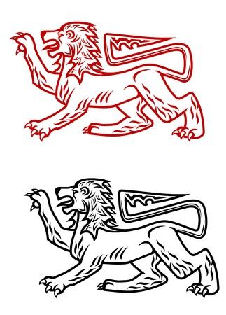 royal safari: Ancient heraldic lion silhouette in two colors Illustration