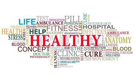 good health: Health and care tags cloud for web design Illustration