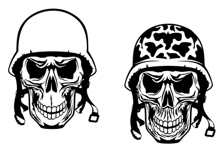 military silhouettes: Warrior and pilot skulls in military helmets Illustration