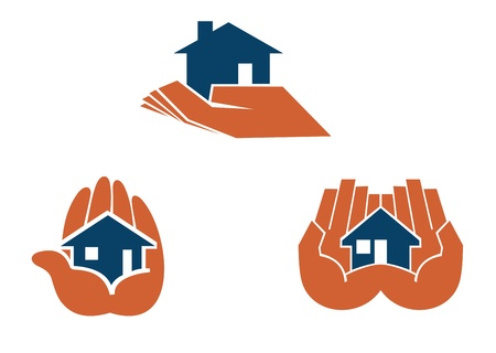 sell house: House in hands symbols and pictograms for real estate business design