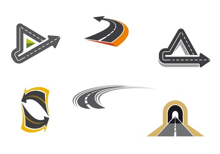 winding road: Set of road and highway icons and symbols for transportation design