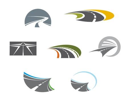 Weg symbolen en pictogrammen voor vervoer ontwerp
