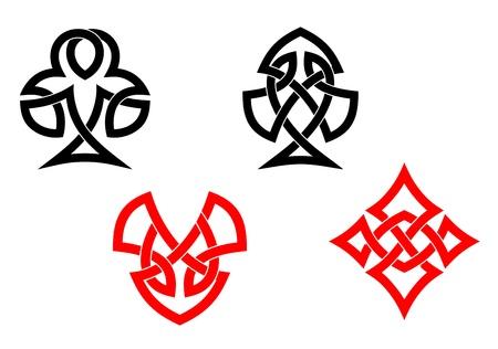 romanesque: Poker card symbols in ornamental celtic style
