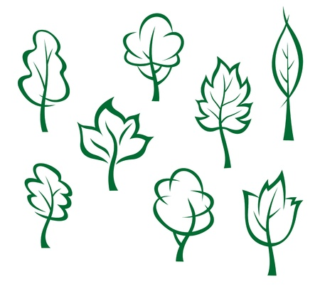 oak tree: Icons and symbols of green trees in cartoon style