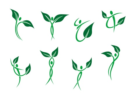 environmental protection: Green peoples with leaves as environment and ecology symbols Illustration