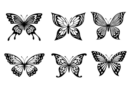silhouette papillon: Beaux papillons dans le style monochrome pour la conception de tatouage