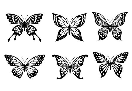 butterfly tattoo: Mariposas hermosas en el estilo monocromo para el dise�o del tatuaje