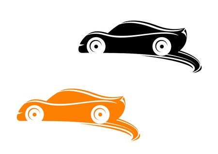 Rally racing cars in silhouette style with tyre shapes Vector