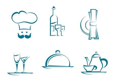 logo de comida: Iconos y símbolos del restaurante fijado para el diseño de servicios de alimentos