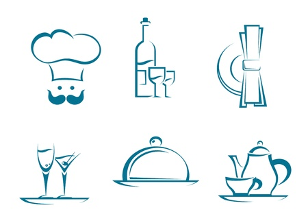 dishes: Restaurant icons and symbols set for food service design