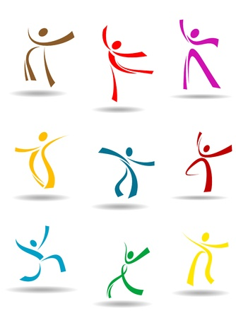 exercise silhouette: Dancing peoples pictograms for entertainment or sports design