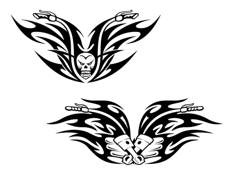 Black bikes tattoos with flames and graphic elements Vector