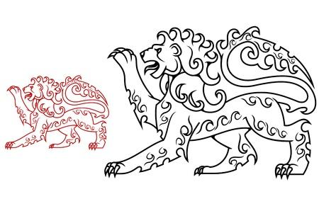 lion silhouette: Vintage royal lion for heraldry or tattoo design Illustration