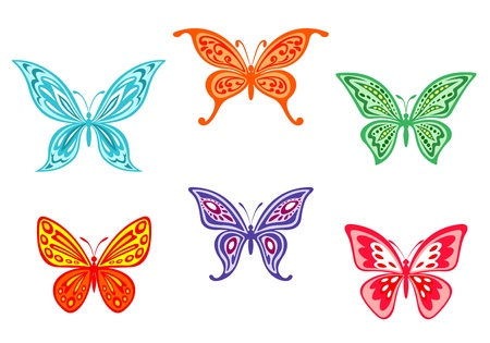 stylistic: Set of colorful butterflies isolated on white background