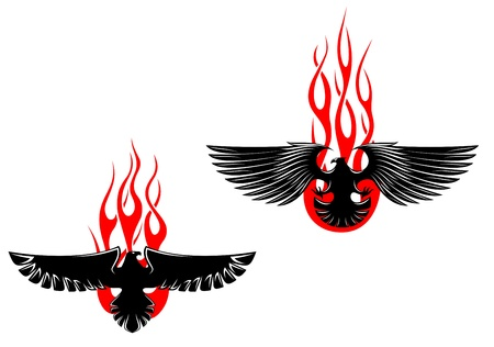 Black eagles with tribal flames for tattoo design Vector