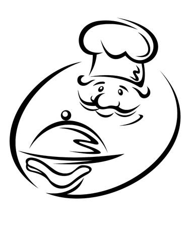 trays: Vrolijke chef-kok met lade voor restaurant ontwerp Stock Illustratie