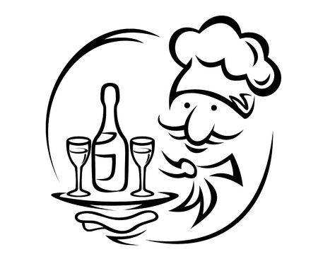 restaurant staff: Waiter with tray and champagne for food service design Illustration