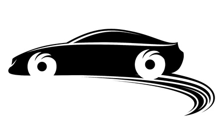 silhouette voiture: Mouvement rapide voiture avec des formes de pneus sur les courses de rallye