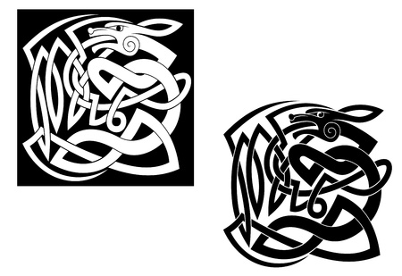 celtic culture: Abstract wild animal with ornamental elements in celtic style Illustration
