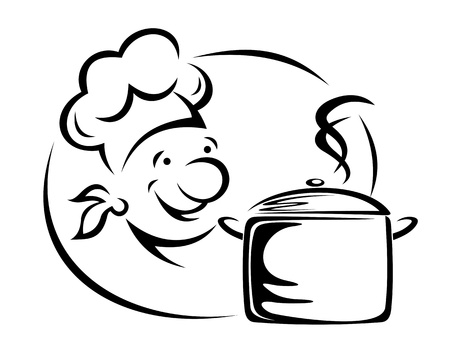 sirvientes: Sonriente cocinero con olla para el dise�o de restaurante Vectores