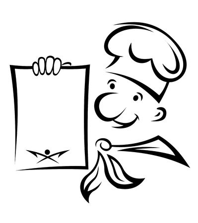 Cocinero alegre con papel de men� para el dise�o de la cocci�n de alimentos