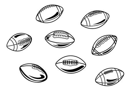 football match: Palloni da calcio e rugby americano fissati per il design sportivo