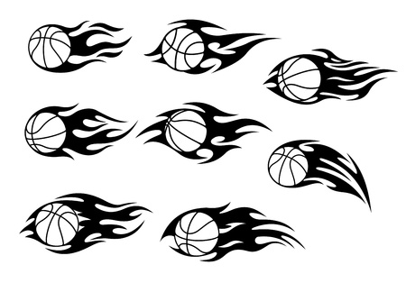 hoop: Basketball balls with fire flames for sport tattoos design Illustration
