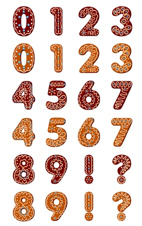 Gingerbread digits for christmas or new year holiday design Vector