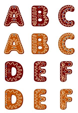 Gingerbread alphabet letters from A to F for christmas or new year holiday design Vector