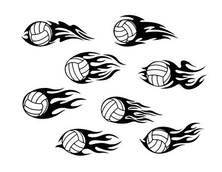 volley: Set of volleyball sports tattoos with tribal flames