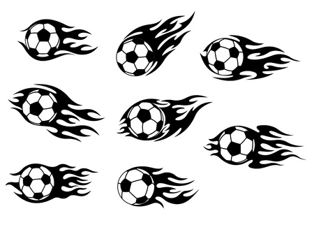 Football and soccer tattoos with tribal flames Vector