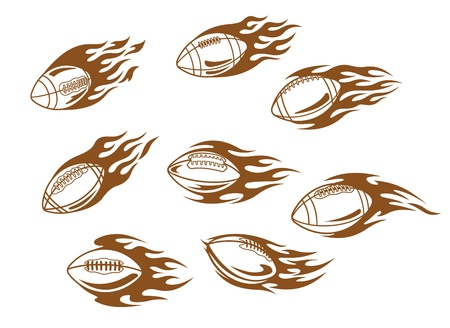 Rugby and football tattoos with tribal flames Vector