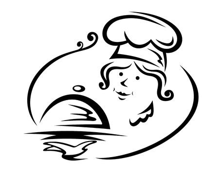 trays: Vrouw chef-kok met lade voor cafe of restaurant ontwerp