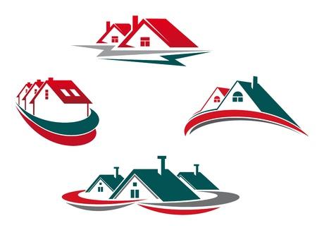 logotipo de construccion: Casas y viviendas establecidas para el diseño de las propiedades inmobiliarias