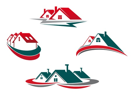 construction logo: Houses and homes set for real estate business design Illustration