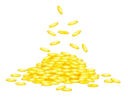 falling money: Stack of golden coins for wealth or lucky concept design