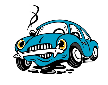Broken car in cartoon style for repair or service concept Vector