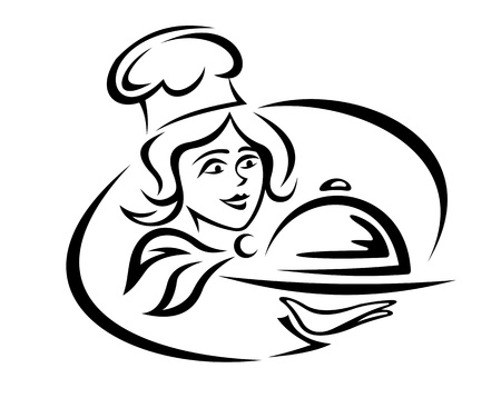 lunch tray: Young waiter with food tray for catering design Illustration
