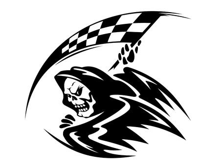 cuadros blanco y negro: Peligro negro demonio muerte con bandera ckeckered Vectores