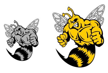 wasp: Angry avispa chaqueta amarilla o mascota en estilo de la historieta Vectores
