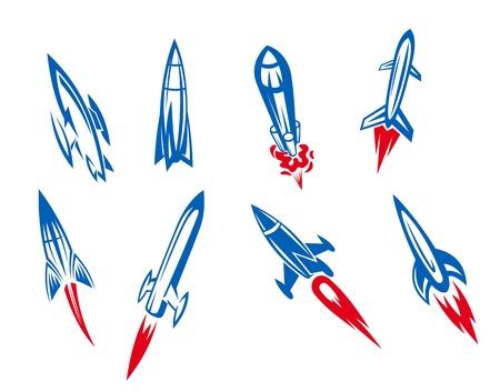 misil: Conjunto de cohetes y misiles en el estilo de dibujos animados
